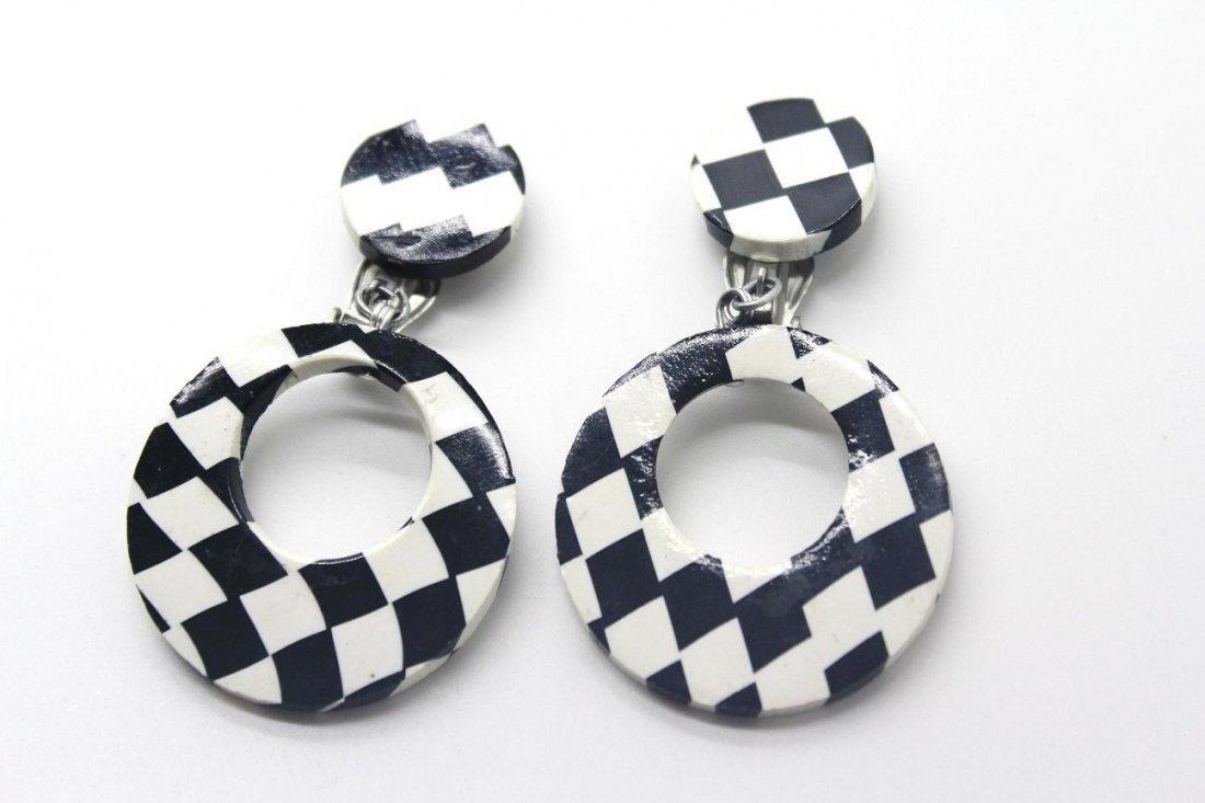 11: Signed Japan Black & White Checkered Clip Earrings