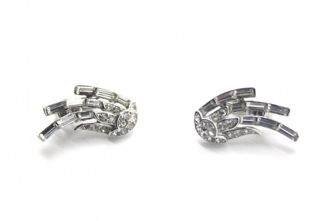 13: Vintage Trifari Swirl Rhinestone Clip Earrings
