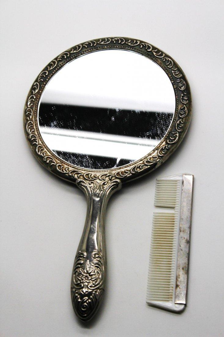 17: Vintage Silver Mirror & Comb Set
