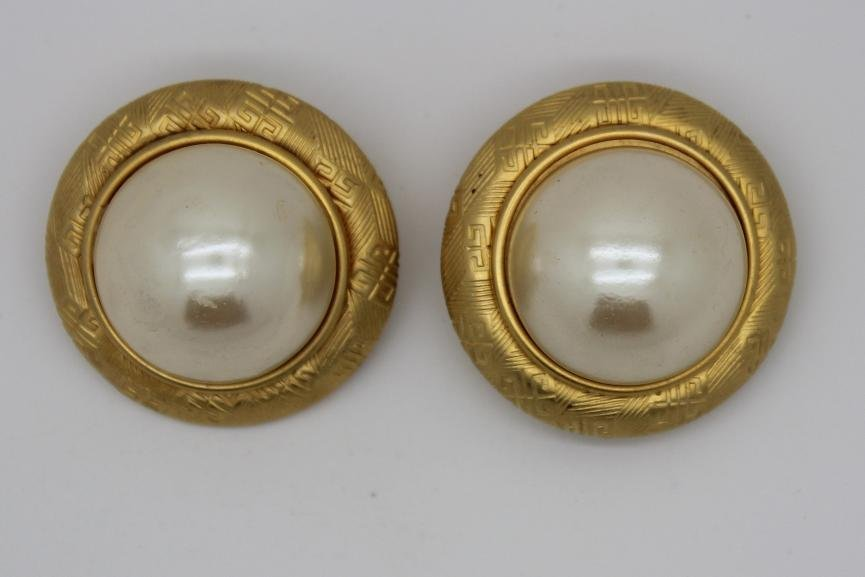 Vintage Gold Givenchy Faux Pearl Logo Clip Earrings