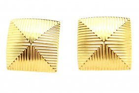 Vintage Monet Gold Square Textured Earrings