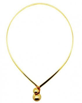 21: Vintage Gold Double Ball Collar Necklace