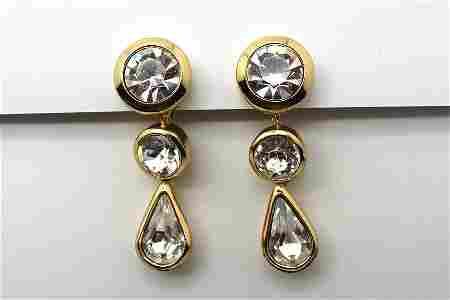 78: Vintage Christian Dior Gold Tone Rhinestone Earring