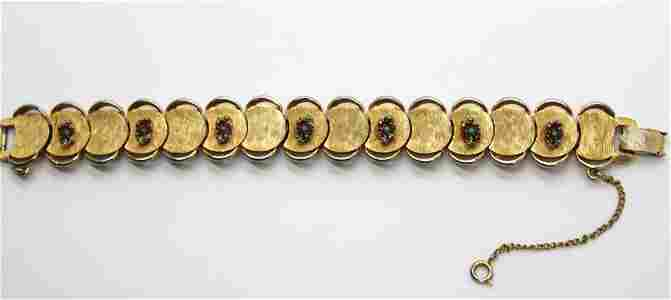 198: Vintage B.S.K Textured Goldtone Link Bracelet