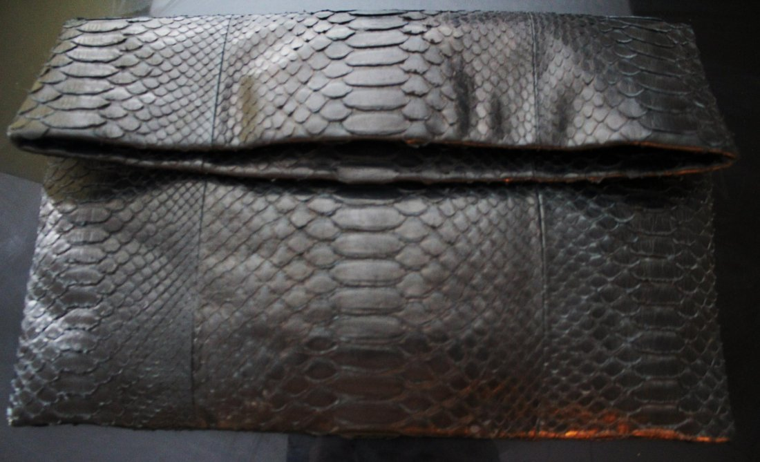 $1100 BSABLE BLACK SNAKESKIN CLUTCH...NEW WITH TAGS