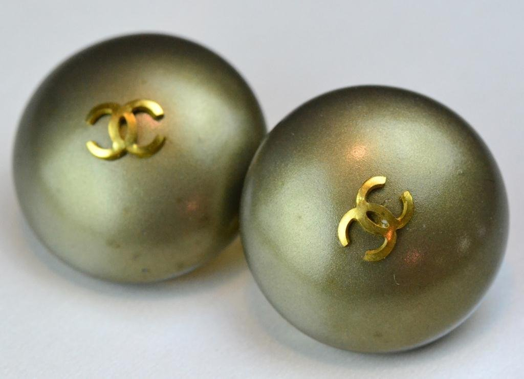 Chanel 20th Century Green & Gold Clip Earrings