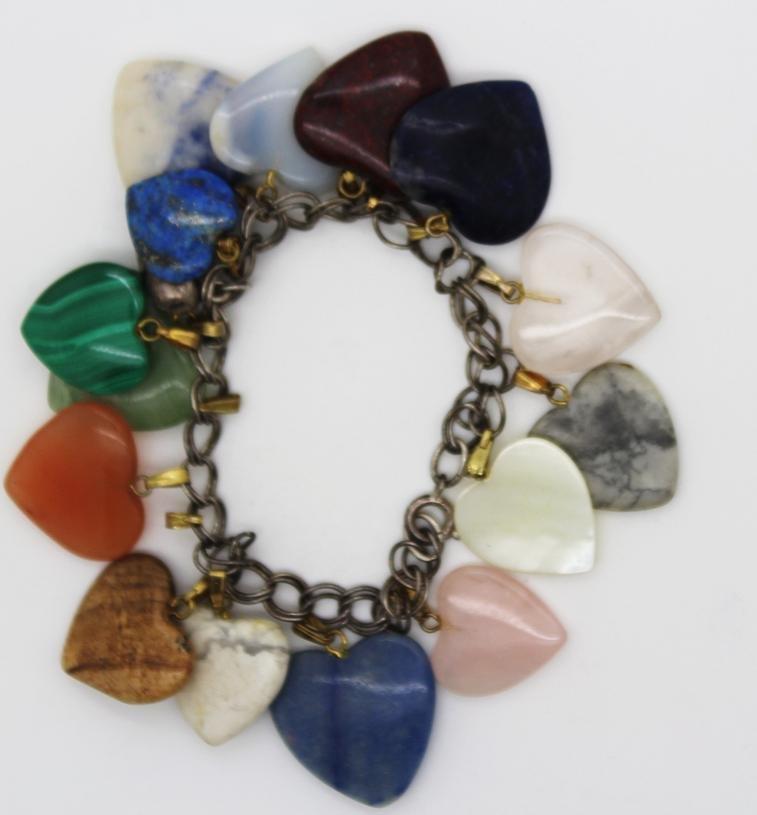 Vintage Multi Color Stone Heart Charm Bracelet