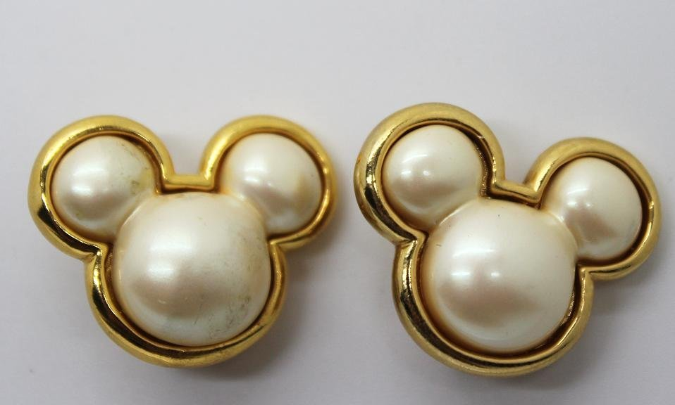 Vintage Mickey Mouse Clip Earrings Signed Disney