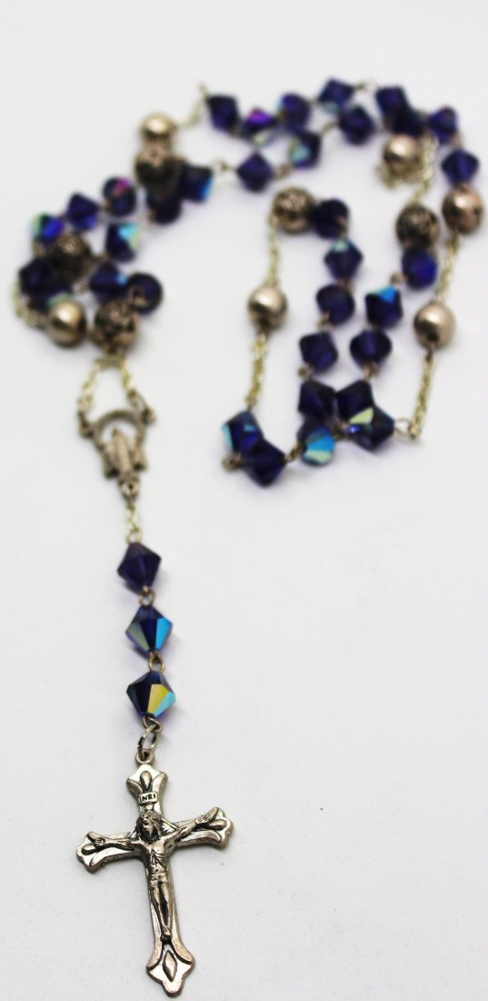 Vintage Rosary Bead & Cross Necklace