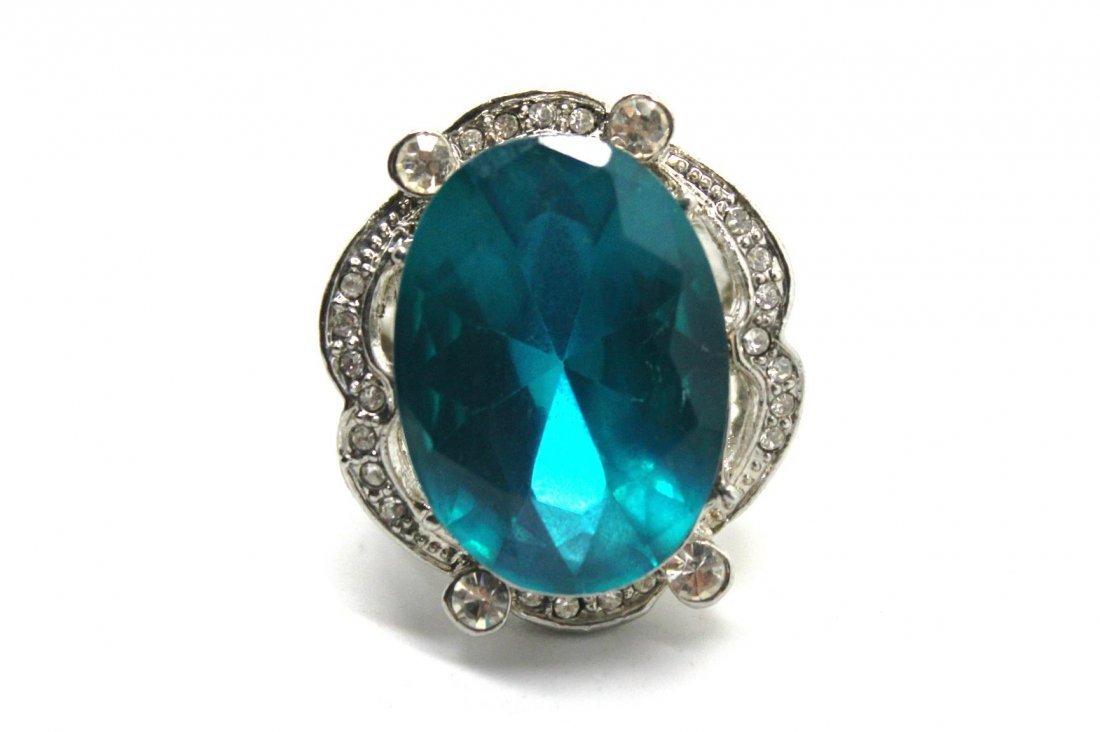 Blue Rhinestone Large Cocktail Ring
