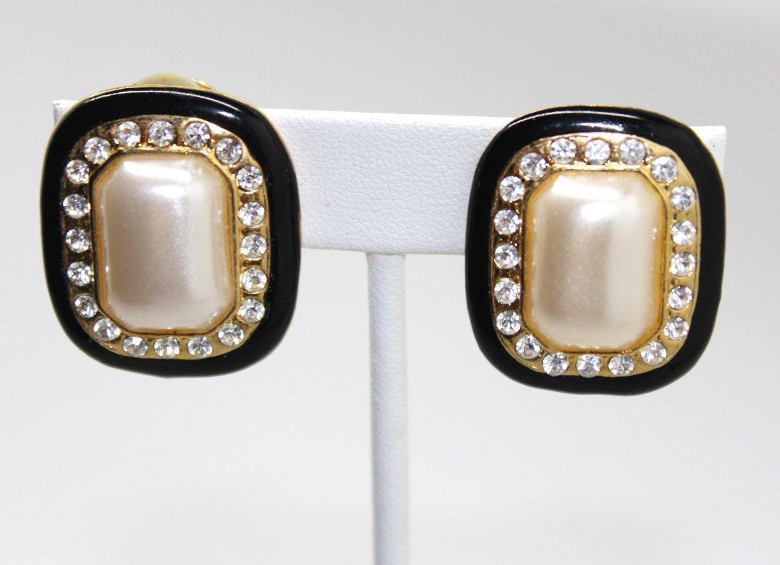 Vintage Square Faux Pearl & Rhinestone Clip Earrings