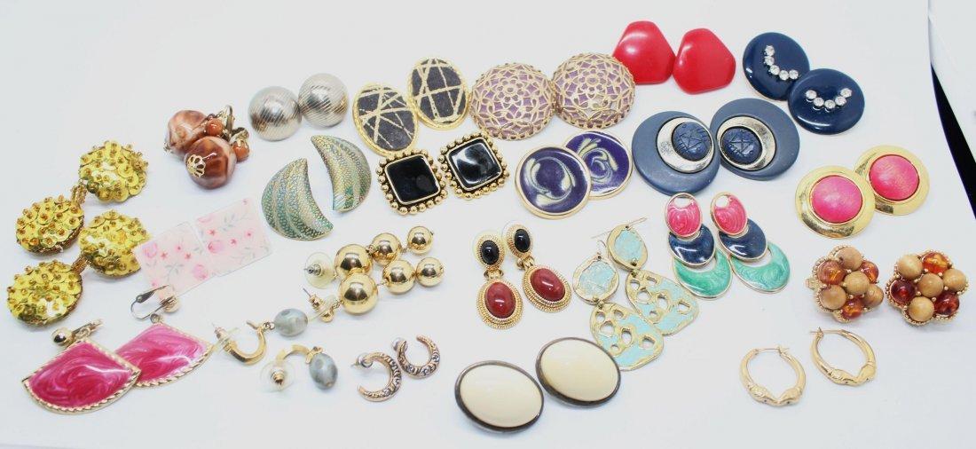 Dealers Lot of 23 Pairs of Vintage Earrings