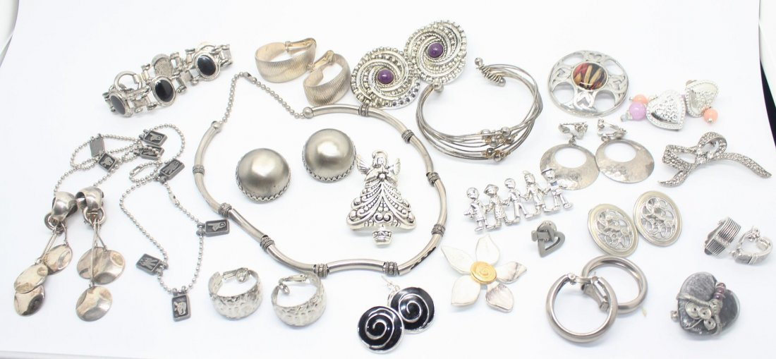 Lot of Silver Tone  Vintage Jewelry - Earrings, Pins,