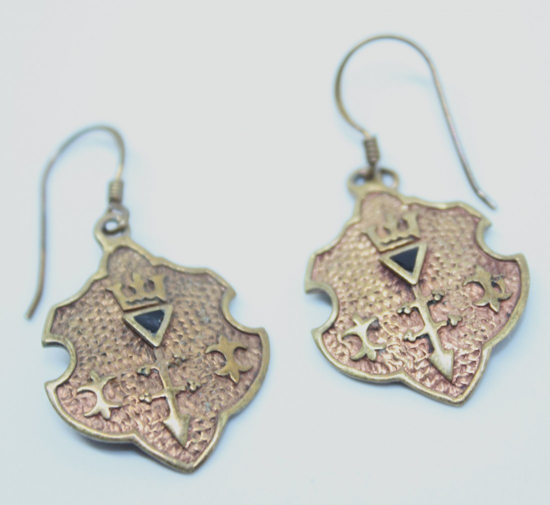 Vintage Gold Tone Coat of Arms Earrings