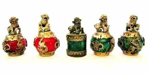 5 Piece Set of Jade & Silver Ornaments - Ming Dynasty