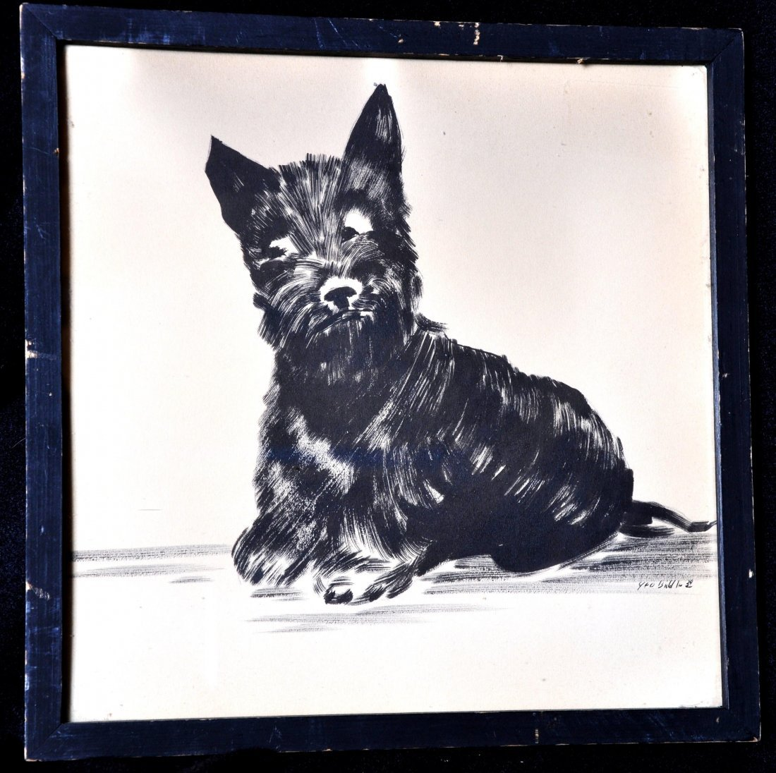 George Biddle - Black Dog Brushed Ink Drawing