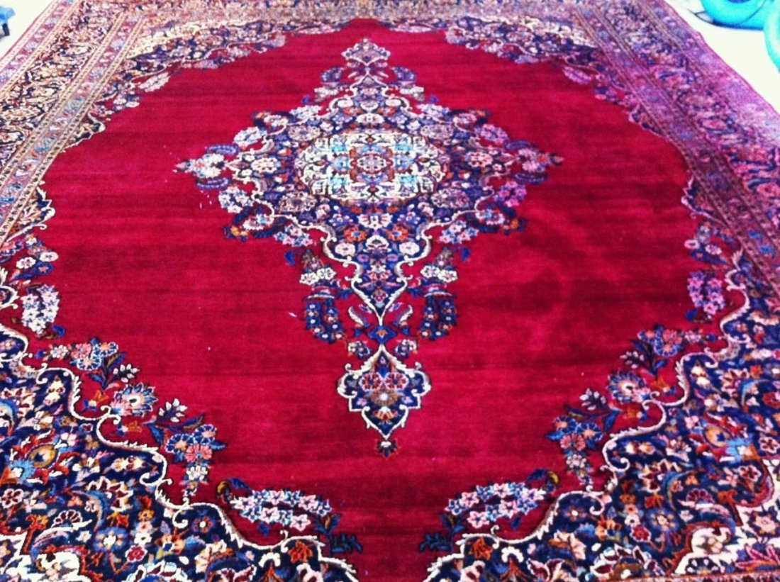 Rare Fine Hand Made Persian City of Kashan Rug 1900-30