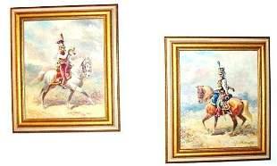 Lot of 2 Mounted Cavalrymen Oils - Eugene Pechaubes