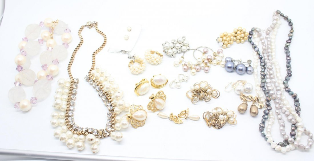 Group of Faux Pearl Vintage Jewelry