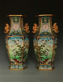 Chinese Pair of Cloisonne Vases-Pre 1900- Qing Dynasty