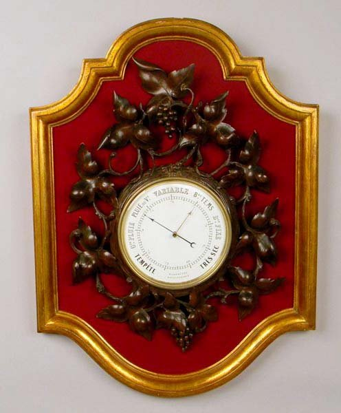 A Late 19th Century Wall Barometer on a Gold Wood Frame