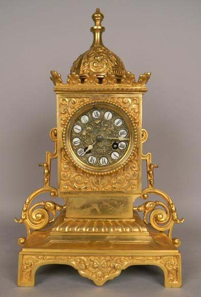 A 19th Century 24 Karat Gold Plated Bronze Mantel Clock