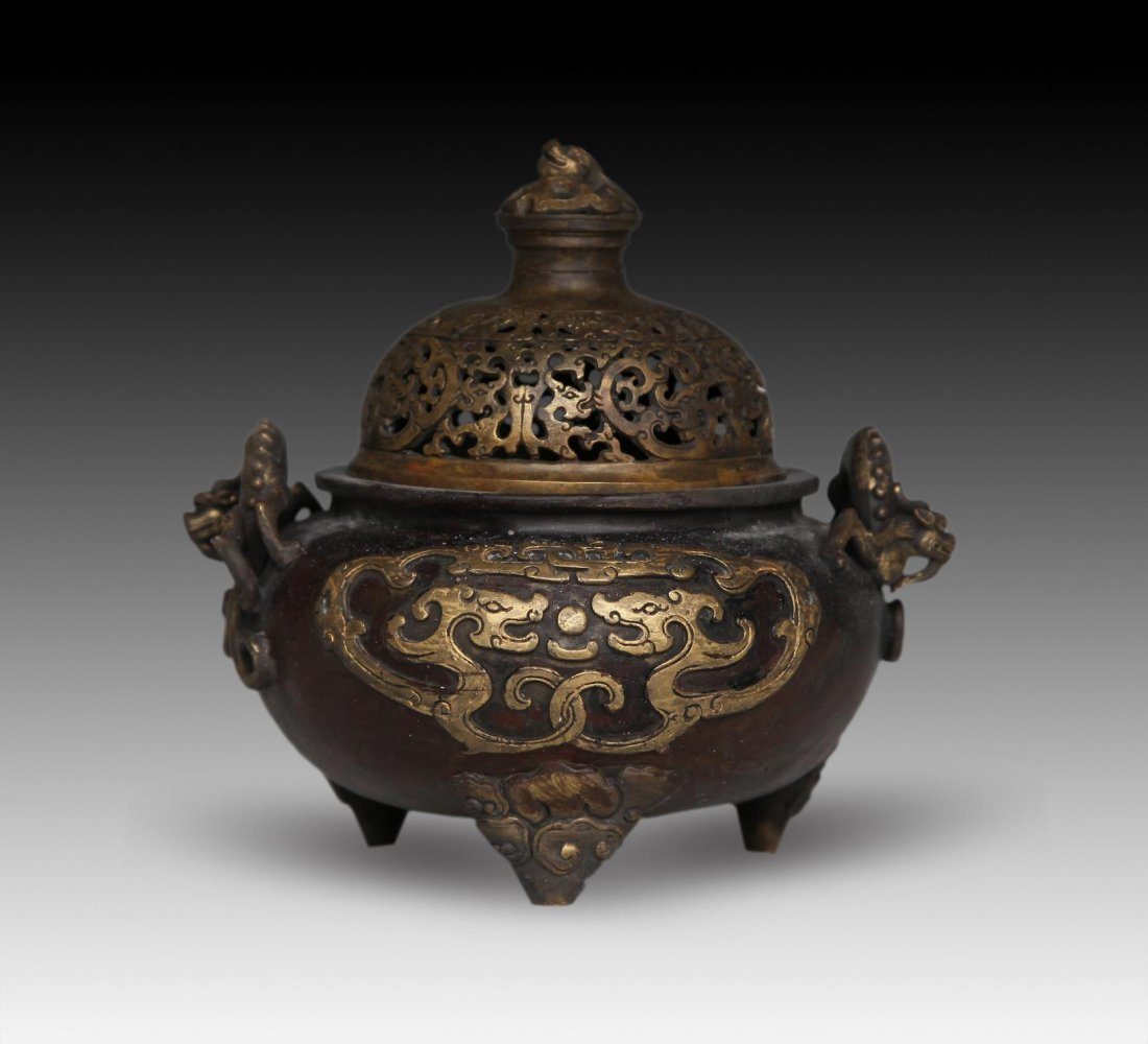 CHINESE BRONZE TWO-HANDLED CENSER