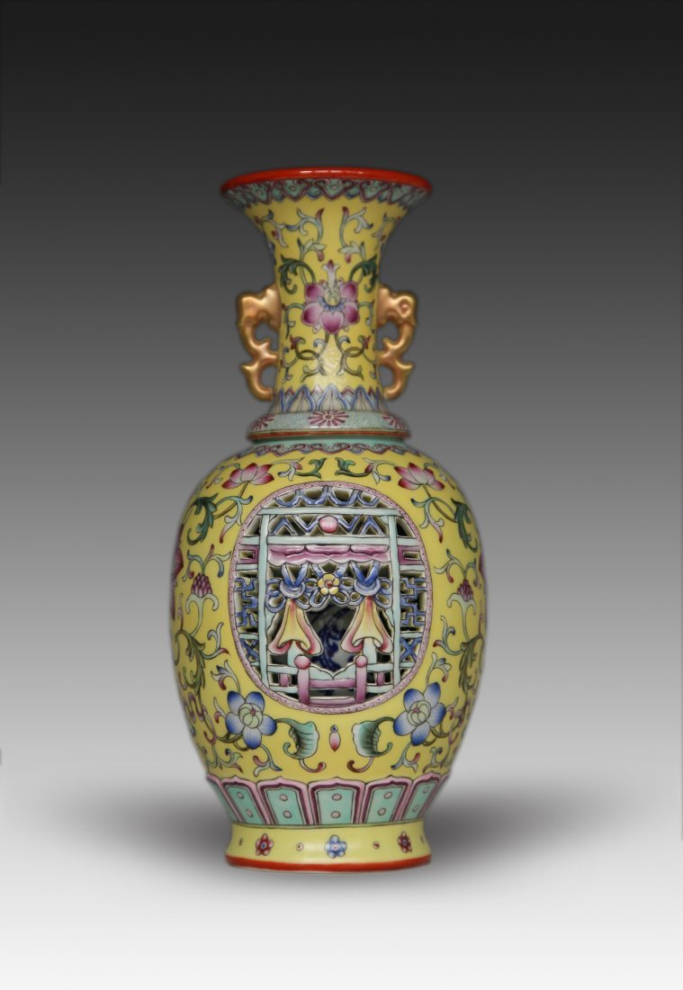 Chinese Enameled Double Wall Porcelain Vase