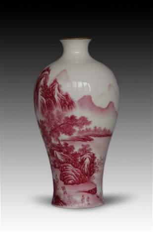 Chinese Rose Enameled Porcelain Vase, Landscape