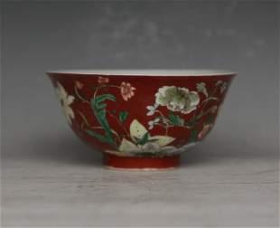 Red Porcelain Bowl
