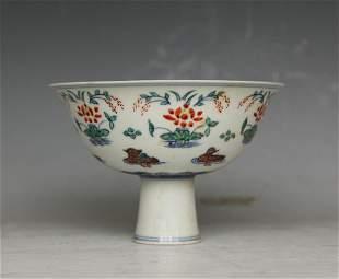 Chinese Doucai Stem Bowl