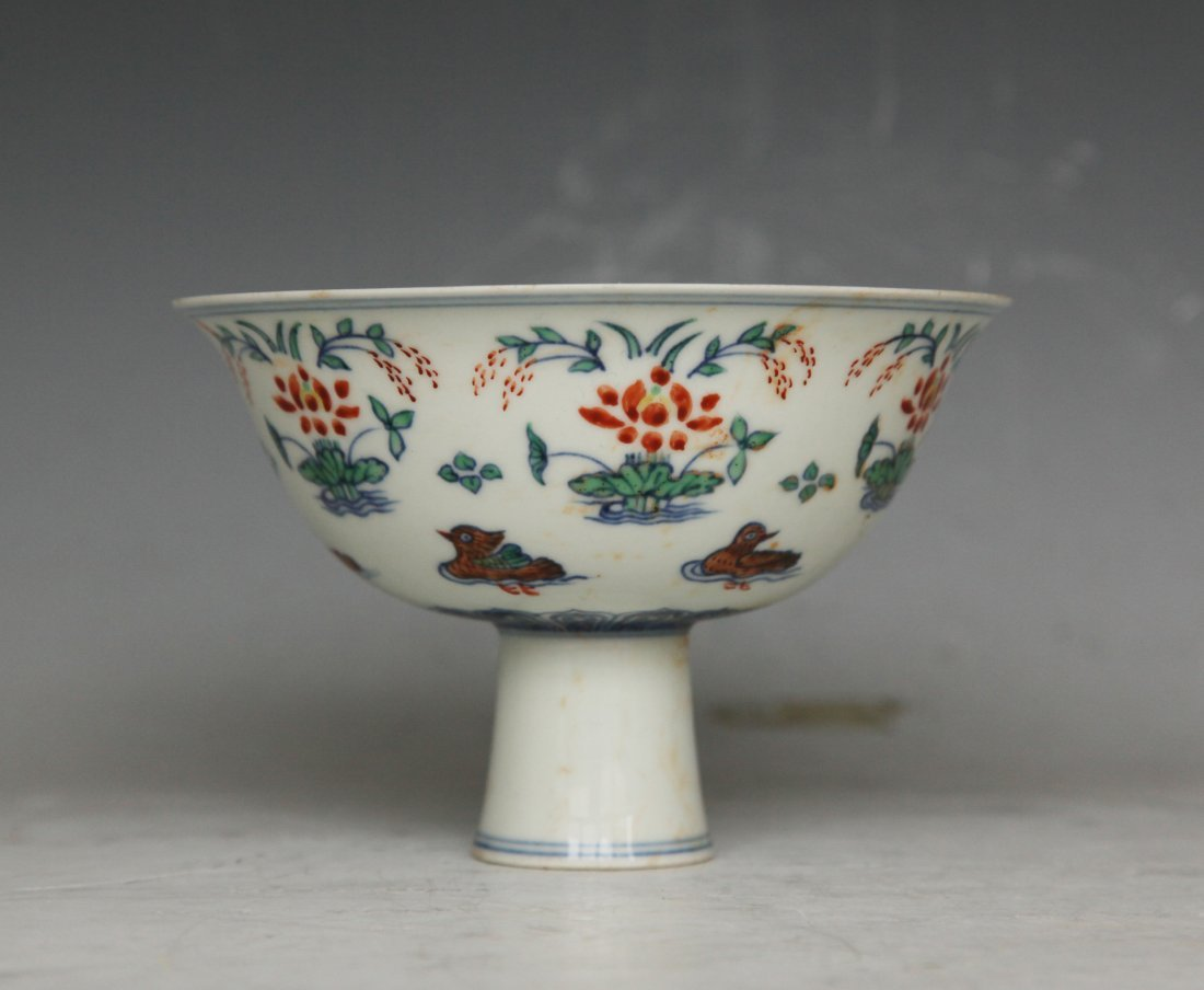 Chinese Doucai Stem Bowl