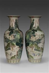 Pair of Chinese Famile Verte Vases - Pre 1940