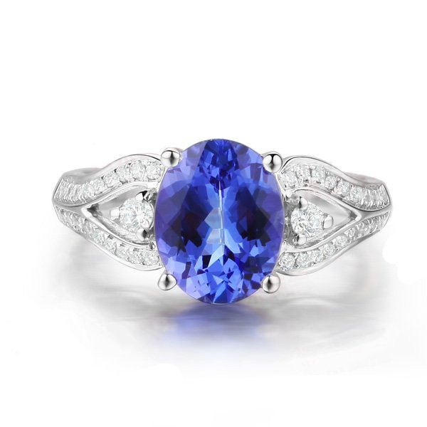 1: Natural Sapphire Ring 0.9 ctw with diamonds 14k Whit