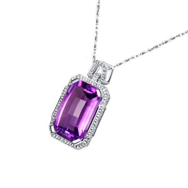 3: Natural Amethyst Pendant 17.60 ctw with loose diamon
