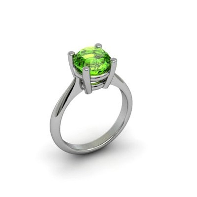 21: Natural Peridot Solitaire Ring 1.25 ctw 14k White g