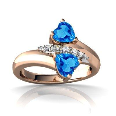 FOREVER Blue Topaz 10K Rose Gold Ring with Diamonds