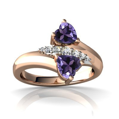 FOREVER Purple Amethst 10K Rose Gold Ring with Diamonds