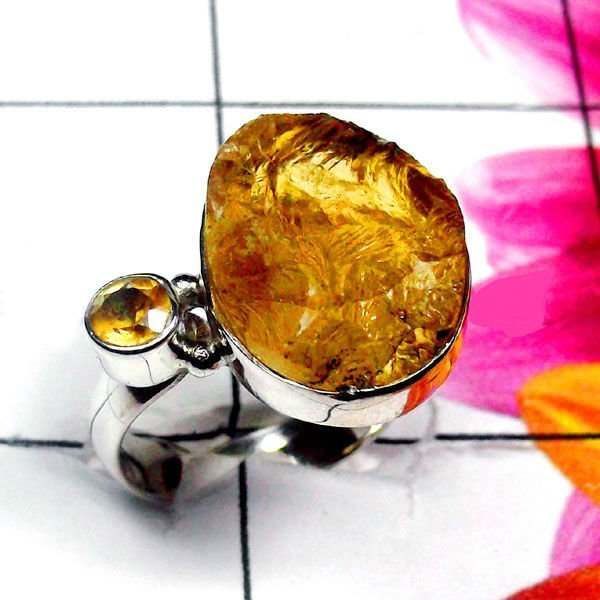 Natural AAA Citrine Rough Handcrafted Designer 925 Ster