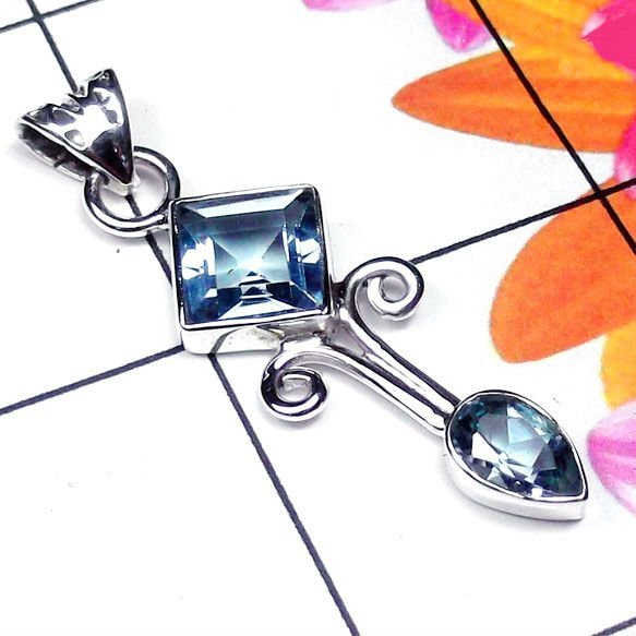 Natural AAA 2 Blue Topaz Handcrafted Designer 925 Sterl