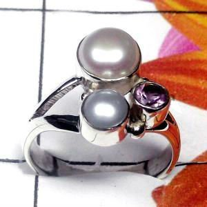 Natural AAA 2 Pearl 1 Amethyst Handcrafted Designer 925