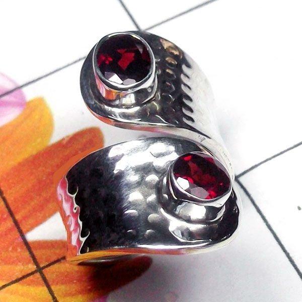 Natural AAA 2 Garnets Handcrafted Designer 925 Sterling