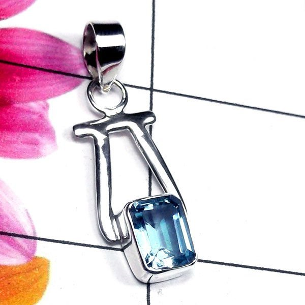Natural AAA Blue Topaz Handcrafted Designer 925 Sterlin