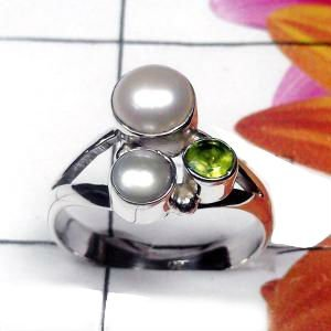 Natural AAA 2 Pearl 1 Peridot Handcrafted Designer 925