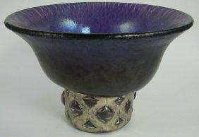 Anthony Stern Iridescent amethyst glass bowl