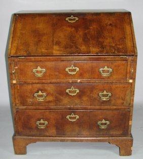 English Walnut-Veneered Slant-front Desk