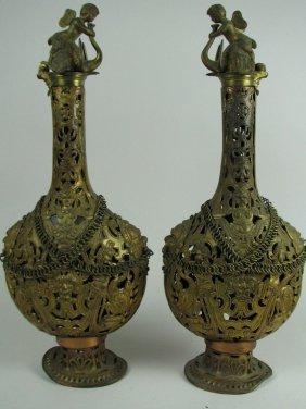 Pair Ornate Gilt Brass Victorian Decanters