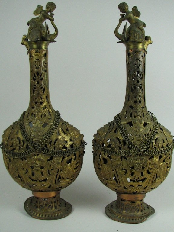 Pair Ornate Gilt Brass Victorian Decanters