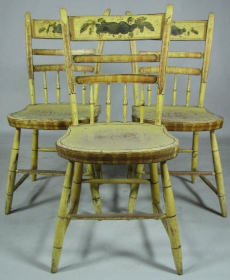 Set of Six Decorated Half-Spindle Windsor Chairs