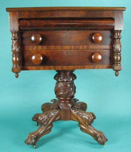 Mahogany Three-Drawer Empire Work Table
